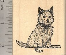 Christmas Cairn Terrier Dog Rubber Stamp, With Candy Cane   J23004 WM
