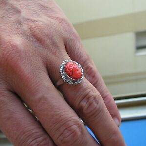 Vintage Estate CORAL  hand made carved by hand RING Silver Gold size 7