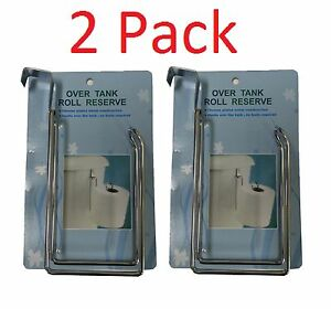 2 x RESERVE TOILET PAPER HOLDER Over The Tank Hanging Metal Tissue Roll Storage