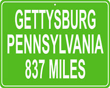 Gettysburg Pennsylvania mileage sign - distance to your house