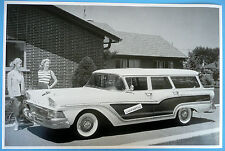 """1958 Ford 4 Door Station Wagon 12 x 18"""" Black & White Picture"""