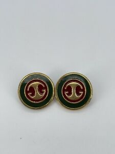 Gucci set of 2 Vintage Red Green Enamel Buttons  1/2 In Diameter