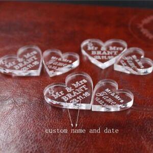 100 pcs Customized crystal Heart Personalized MR MRS Love Heart Wedding souvenir