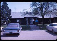 Parking Lot Old Cars Wooden Building 1963 60s Vintage 35mm Kodachrome Slide