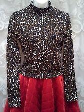 NEW Mock Neck Long Sleeve Crop Top Womens Size L Camo Animal Print So Beautiful!