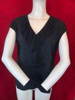 LAURA ASHLEY Women's Black Ruffle Short Sleeve V Neck Top. Size UK 12