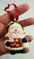 SNOWMAN in SANTA HAT Vintage Ceramic Christmas Tree Ornament Figurine