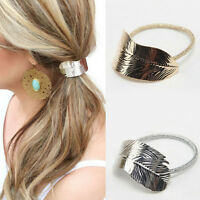 2Pcs Set Women Elastic Leaf Hair Band Rope Headband Hair Ponytail Holder New