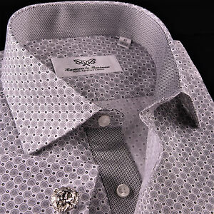 CLEARANCE Coin Boss Business Dress Shirt Gray Twill Formal Designer Polka Dotted
