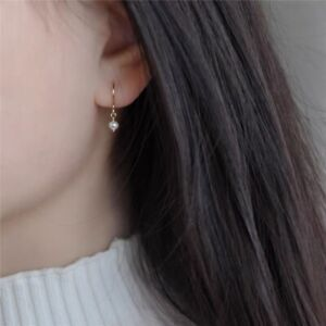 Korean Extra Small 3mm Freshwater Baroque Pearl Dangle Earrings Gold