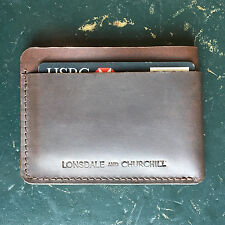 Card case / slim wallet / brown genuine real leather / minimalist / oyster