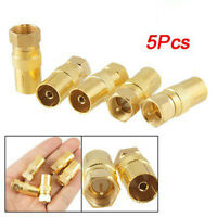 5pcs Straight F-Type Male to TV PAL Female RF Coaxial Connector Adapter Jack CT