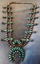 Rare Zuni Squash Blossom Necklace Wilbur Lula Weebothee Signed Natural Turquoise