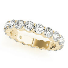 18K Solid Yellow Gold Ring 3.00 Ct Round Diamond Wedding Eternity Band Size P