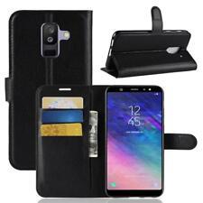 Funda para el Samsung Galaxy A6 Plus 2018 Libro Cover Wallet Case-s bolsa Negro