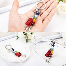 Fashion 7 Chakra Lotus Women Girl Healing Balance Yoga Beads Keychain Key Ring