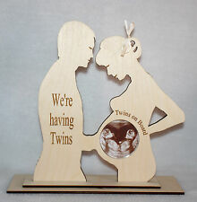 """""""WE'RE HAVING TWINS"""" COUPLES BABY SCAN PHOTO KEEPSAKE PHOTO FRAME WITH COVER"""