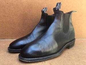 Rm Williams Womens Black Leather Slip On Boots Size AUS 8 D || UK 5.5