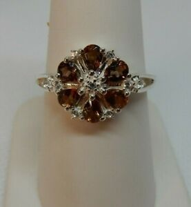 Size 7 Natural Andalusite with white Zircon Silver Ring 1.03cts