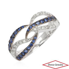Estate Diamond Blue Sapphire 10K Gold Crossover Band Ring NR