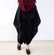 Women Ladies Casual Leisure Maxi Plus Size Linen Harem Pants Skirt Dress Culotte