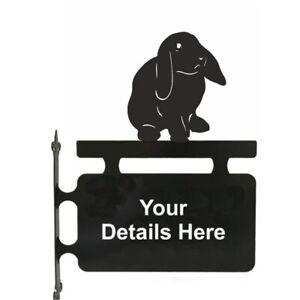 Rabbit Hanging Sign- Outdoor Black Metal House Sign