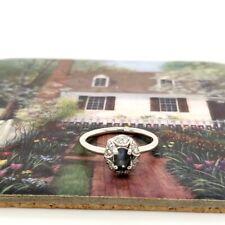 Natural  Alexandrite .60tcw & Diamond .12tcw Halo ring 10k white gold sz 6 NWOT