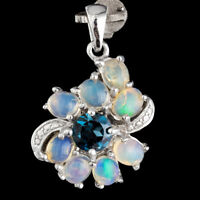 100% NATURAL 6MM LONDON BLUE TOPAZ & ETHIOPIAN FIRE OPAL SILVER 925 PENDANT