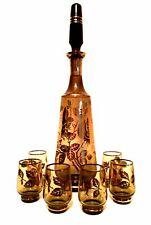 Bohemia Glass Decanter Six Glasses Smokey Glass Gold Floral Trim Czechoslovakia
