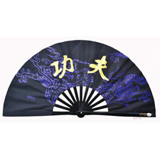 Black Cosplay Kung Fu Tai Chi Training Bamboo Fans High Quality Wushu Fan Lp000