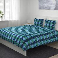 Ikea KROKUSLILJA Full/Queen Duvet Cover 2 Pillowcases Bed Set Blue Green Modern