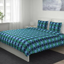 Ikea KROKUSLILJA Full/Queen Duvet Cover 2 Pillowcases Bed Set Blue Green Modern
