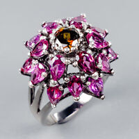 Fine Art Jewelry Natural Rhodolite 925 Sterling Silver Ring Size 7.5/R122690