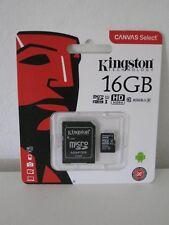 Kingston SDCS/16GB-MicroSD Clase 10 de hasta 80 MB/s, (incluye adaptador SD)