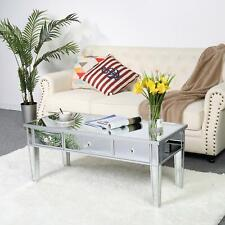 Mirrored Coffee Cocktail Table Silver Finish Accent Table W/ Drawers Furniture