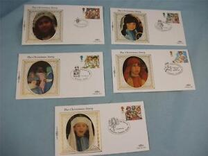 Limited Edit Benham 5 Small Silk Stamp covers 'Christmas 1994', GB Stamp issue