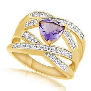 1.60 Ct Trillion Amethyst & White Zircon 18K Yellow Gold Over Engagement Ring