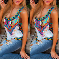 Women Boho Summer Vest Sleeveless Shirt Blouse Casual Beach Tank Tops Plus Size