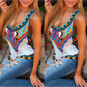 Women Boho Summer Vest Sleeveless Shirt Blouse Casual Beach Tank Tops Plus Size