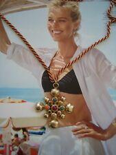 Vintage Napier 1960s Maltese cross style gold/multi coloured pendant necklace