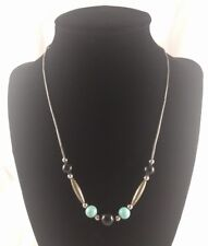 Native Style Turquoise Beaded Necklace Judie Ingram Silver Tone Untested Modern