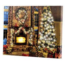 """infactory Wandbild """"Weihnachtliches Kaminzimmer"""" mit flackernder LED, 40 x 30 cm"""