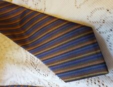 Michelsons of London Mens Silk Tie Brown and Blue Diagonal Stripes