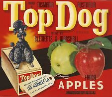 "RARE OLD ORIGINAL 1940'S POODLE ""TOP DOG BRAND"" BOX LABEL ART TASMANIA AUSTRALIA"
