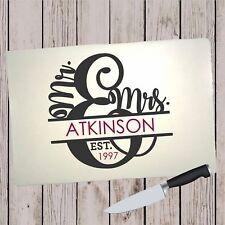 Glass Cutting Board - Mr and Mrs