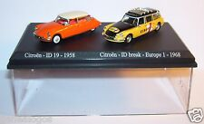 COFFRET ATLAS DUO  UH HO 1/87 2 CITROEN DS ID 19 1958 ID BREAK EUROPE 1 1968