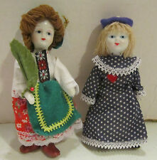 """2 vintage 5"""" bisque International doll ornaments - Poland in box & other VGC"""