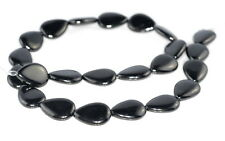 18X13MM BLACK JET GEMSTONE ORGANIC TEARDROP LOOSE BEADS 16""