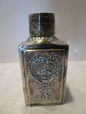 Antique Barbour Silver Co Silver-plated EMBOSSED Tea Caddy Silver on copper Vtg