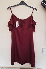 Beautiful bnwt burgundy frilled strappy cold shoulder dress by papaya size 10
